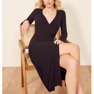 NWOT Reformation Black Wrap Dress